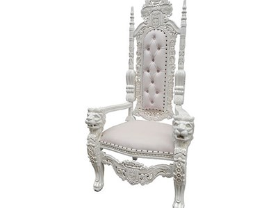 White Lion Throne Chair